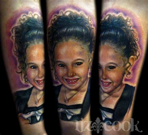 photo realism tattoo artist dallas mike s daughter color portrait by liz cook tattoos