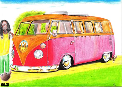 hippie volkswagen drawing vw bus hippie drawing