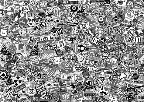 Wallpaper Sticker Wps175 White N Black Walpaper Stiker Dinding The Gallery For Gt Sticker Bomb Wallpaper Hd Black And White