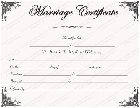 blank marriage certificate template marriage certificate template write your own certificate