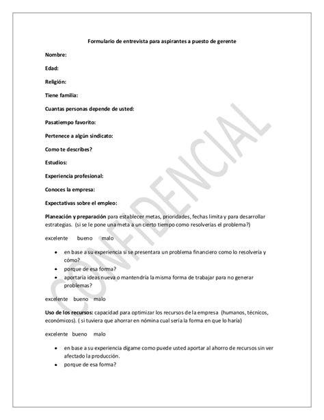 preguntas generales entrevista trabajo formulario de entrevista para aspirantes a puesto de gerente