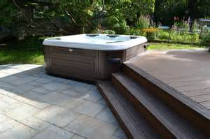 Composite Patio Pavers Tub Bullfrog Spas With Trex Deck And Cambridge Paver Patio Traditional Pool New York