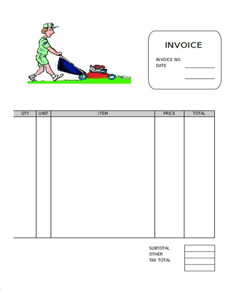 lawn care invoice template 6 free word pdf format download
