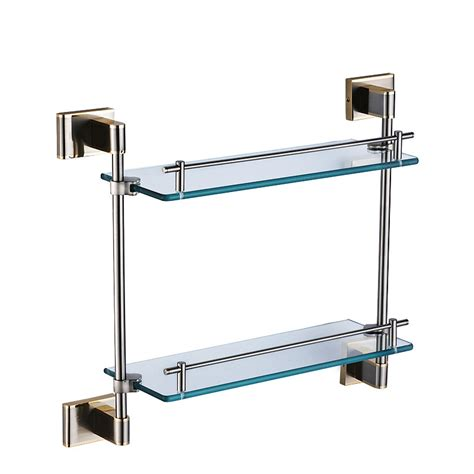 Modern Glass Bathroom Accessories Pvd Silver Contemporary Bathroom Shelves Glass