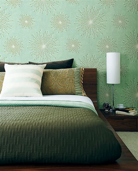 houzz bedroom wallpaper retro blue wallpaper contemporary bedroom other