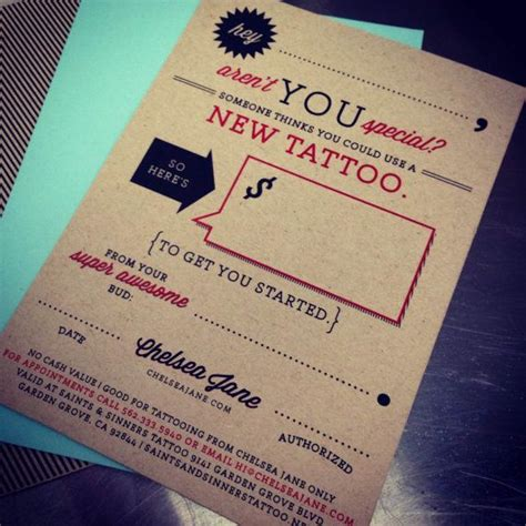 tattoo gift card gift certificate for tattooing by chelsea in the