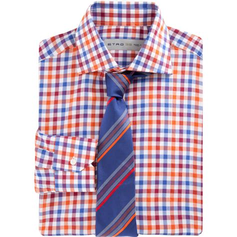 T2b A List Etro Check Shirt Dress by Etro Check Dress Shirt In Orange For Lyst