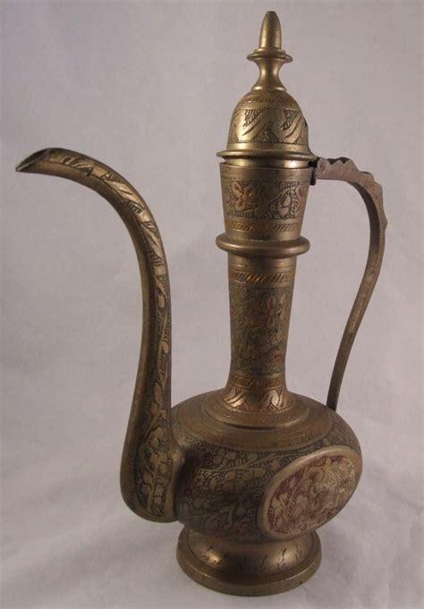 Antique Brass by Vintage 8 Inch India Sarna Brass Ewer Pitcher With Lid Brass