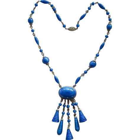 blue lapis bead necklace blue faux lapis bead dangle necklace from