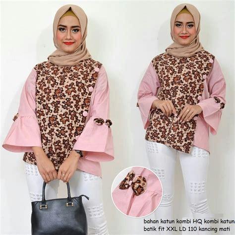 Atasan Jumbo Big Size Atasan Batik Jumbo Ukuran Besar jual blouse atasan wanita jumbo baju tunik kombinasi