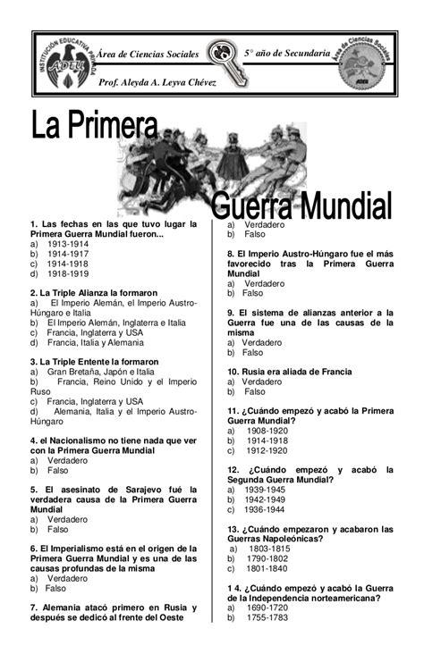 preguntas de historia de mexico con opcion multiple test primera guerra mundial