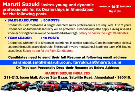 Maruti Suzuki Ltd Careers In Maruti Suzuki India Ltd Vacancies In Maruti