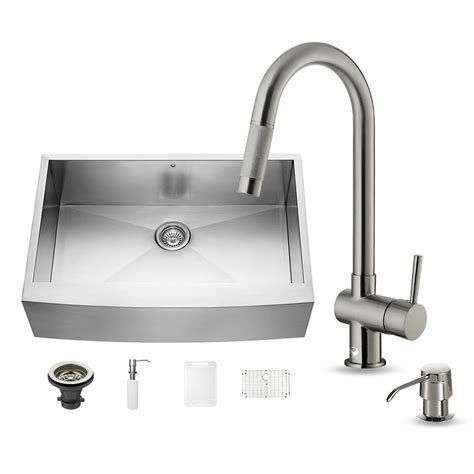 All In One Kitchen Sink Vigo All In One Farmhouse Apron Front Stainless Steel 33 In Single Basin Kitchen Sink In