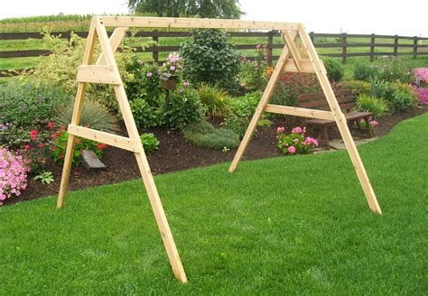 porch swing frames cedar a frame stand for swing or swing bed with hangers