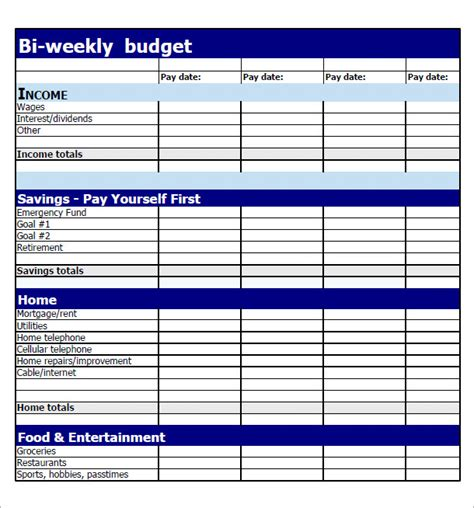 8 Exles Of Bi Weekly Budget Templates Sle Templates Monthly Budget Based On Biweekly Pay Template