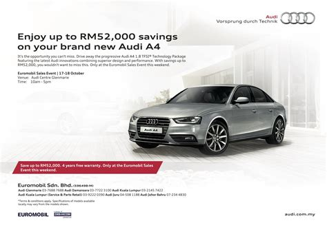 audi ads ad get savings of up to rm52 000 on a audi a4 and