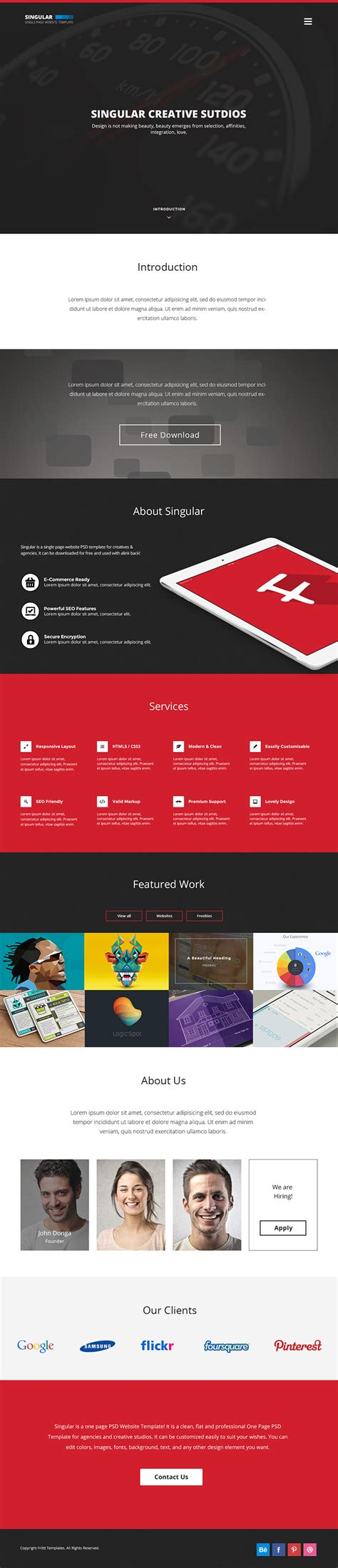 1 page template free 15 best one page website psd templates for web designers