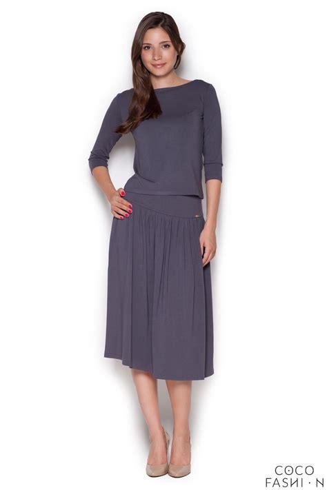 grey stylish set 3 4 sleeves blouse midi skirt