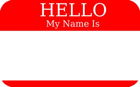 name this clipart hello my name is