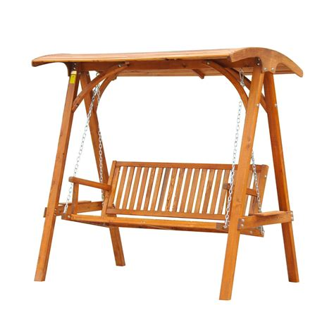 wood swing bench outsunny 3 seater larch wood swing chair bench