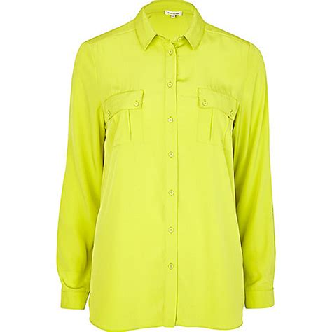 Blouse Green Lime bright lime green oversized shirt tops sale