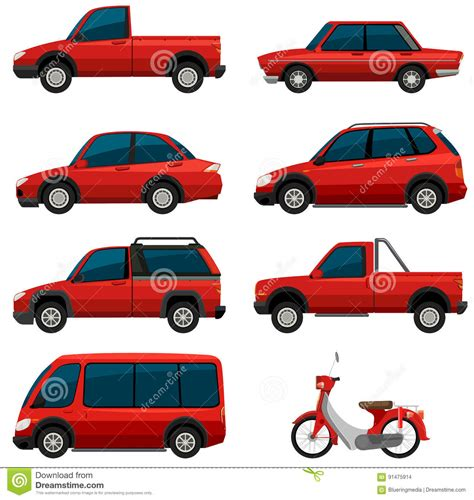 different reds different types of transports in red color stock vector