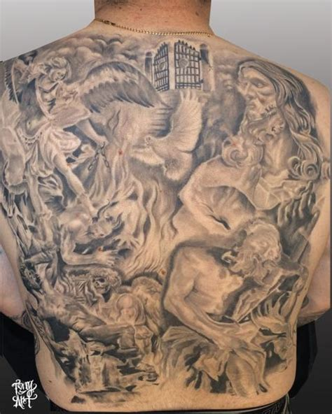 religious collage back piece black and grey by tony tapia