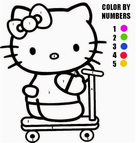 Hello Kitty Coloring Pages With Numbers | hello kitty color by number coloring home