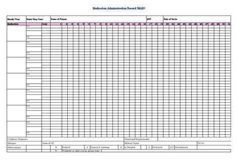 mar template nursing medication administration record mar sheet