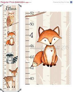 printable animal height chart woodland animal nursery decor fox deer raccoon owl bunny