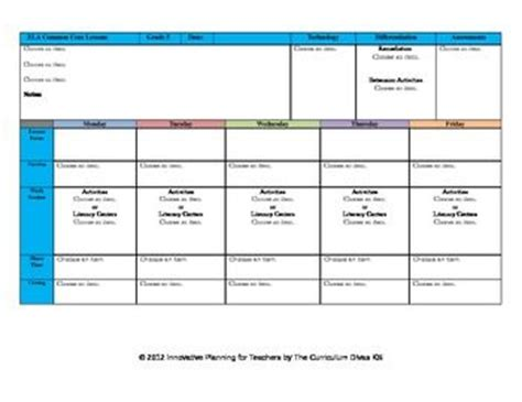 ccss lesson plan template fifth grade all subjects ga