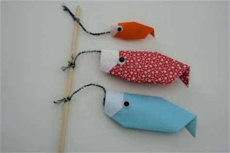 Origami Fishing Pole - carp origami and kites on