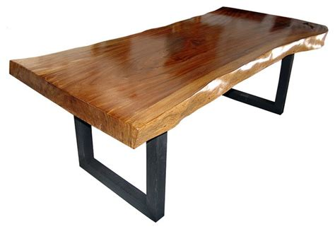 contemporary wood kitchen tables solid slab acacia wood dining table by flowbkk