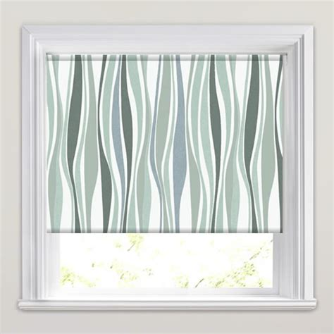 green patterned roller blind green grey taupe white swirling stripes patterned