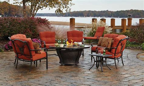 Red River 5 Pc Outdoor Dining Set With Fire Pit The Dump Patio Dining Set With Pit