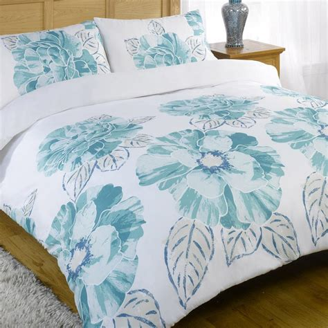Teal Bed Set by Teal Blue White Modern Bold Flower Floral Duvet