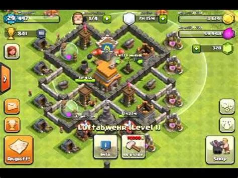 coc layout rh5 rathaus level 5 basis design clash of clans videos deutsch