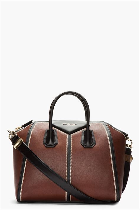 Leather Patchwork - givenchy medium brown vintage leather patchwork antrigona