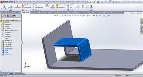 solidworks tutorial bending problem with creating sheet metal feature in solidworks