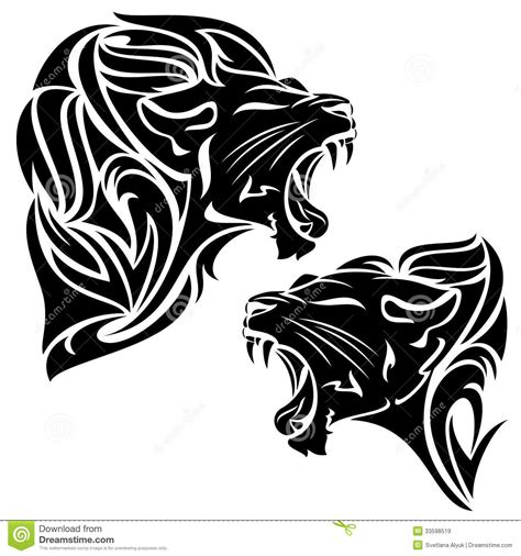 tribal lion stock vector image of feline fang art