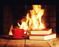 Fireplace Book by Coffee Cup Stock Image Image Of Color Morning