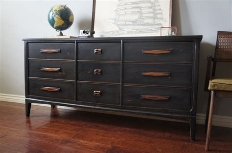 mid century graphite distressed dresser