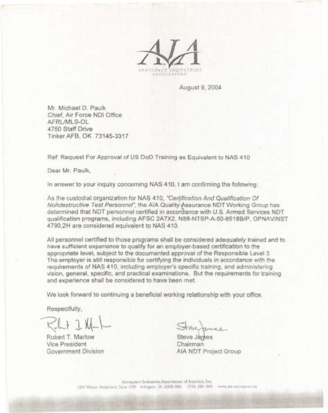 Nondestructive Tester Cover Letter by U S Department Of Defense Ndi Equivalency Letter U S Navy Certifi