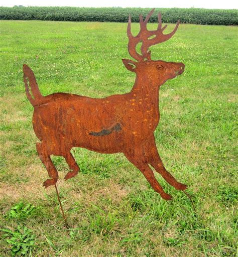 rustic metal deer yard stake lawn ornament