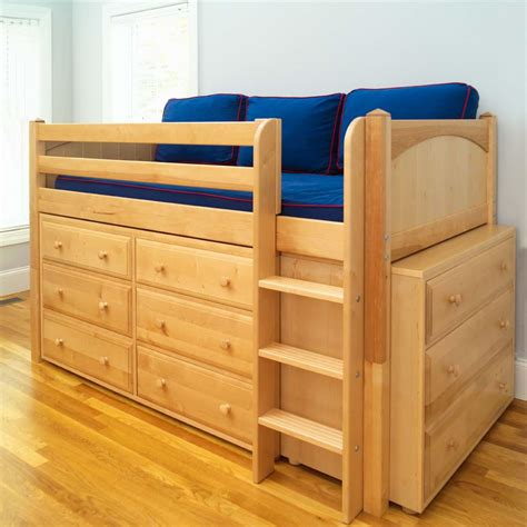 low bunk beds for kids maxtrix kids low loft bed with two dressers