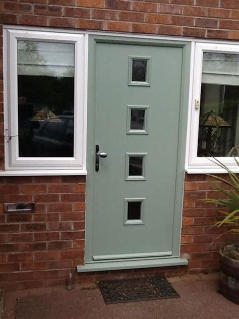 4 Square Glazed Composite Front Door In Chartwell Green Green Upvc Front Doors