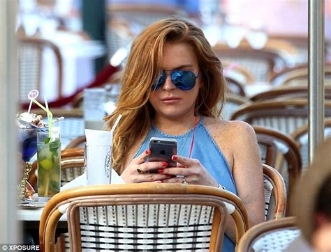 Lindsay Confirmed To Be In Rehab by Lindsay Lohan Braless In Halter Neck Top For Lunch Date In