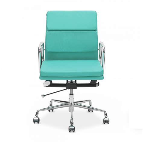 turquoise eames short back soft pad chair office chairs