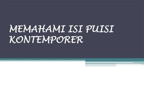 puisi kontemporer karya sutardji calzoum bachri puisi kontemporer