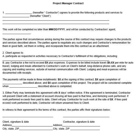28 project manager contract template project manager